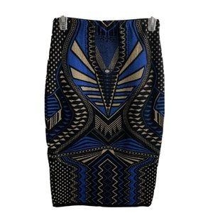 Hera Collection Geometric Black Blue Pencil Skirt